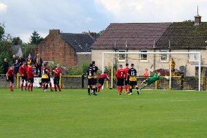 Mark Shanklands free-kick goal for Auchinleck on 34 minutes hits the Bellshill net (Pic by William Wood)