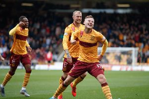 James Scott celebrates his stunning opener for Motherwell against St Mirren last Saturday (Pic by Ian McFadyen)