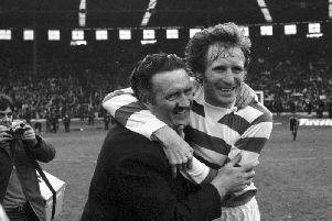 Billy McNeill (right) skippered Celtic team managed by Jock Stein (also pictured) to 1967 European Cup crown