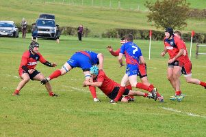 Thomas MacDonald tackles low to stop a Kirkcaldy opponent. (pic: BB Photography)