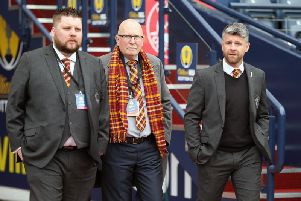 Alan Burrows (1st left) is pictured with Motherwell FC chairman Jim McMahon and manager Stephen Robinson