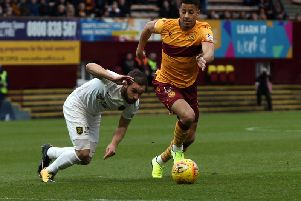 Motherwell's Jake Carroll in action against Livingston (Pic by Ian McFadyen)