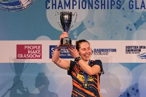 Kirsty Gilmour is pictured after winning the womens singles at the 2018 Scottish Open