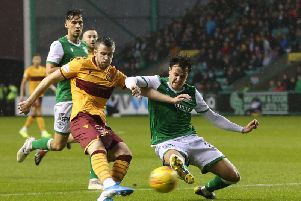 Liam Polworth put Motherwell ahead at Easter Road but the Steelmen ended up on the wrong end of a 3-1 defeat (Pic by Ian McFadyen)