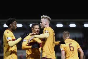 James Scott celebrates one of his two first half goals for Motherwell at St Mirren (Pic by Ian McFadyen)