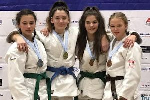 Lily (1st right) with the other British Championships under-57kg medallists