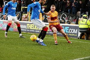 Allan Campbell in action against Rangers on Sunday (Pic by Ian McFadyen)