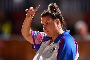 GOLD COAST, AUSTRALIA - APRIL 12: Stacey McDougall of Scotland gestures in the Women's Triples gold medal match between Australia and Scotland during Lawn Bowls on day eight of the Gold Coast 2018 Commonwealth Games at Broadbeach Bowls Club on April 12, 2018 on the Gold Coast, Australia.  (Photo by Albert Perez/Getty Images)