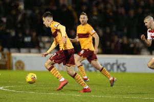 Ross Maciver (left) in action for Motherwell against Hamilton Accies on December 29 (Pic by Ian McFadyen)