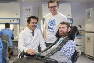 Dr Suvankar Pal, Neurologist and MND-SMART Co-Investigator; Lawrence Cowan, chair of MND Scotland; and Euan MacDonald, who is living with MND and co-founder of the Euan MacDonald Centre for MND Research. (Photograph: MAVERICK PHOTO AGENCY)