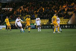 Peter Hartley looks on as his last gasp shot at Livingston is on its way towards hitting the post (Pic by Ian McFadyen)