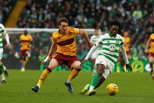 Chris Long of Motherwell challenges Celtic's Jeremie Frimpong during the side's last meeting, a 2-0 win for Celtic at Parkhead on November 9 (Pic by Ian McFadyen)