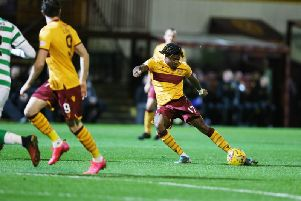 Rolando Aarons unleashes a shot for Motherwell against Celtic (Pic by Ian McFadyen)