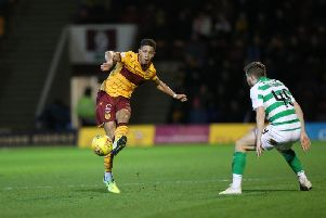 Jake Carroll in action against Celtic on Wednesday night (Pic by Ian McFadyen)