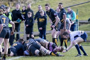 Ayr's Robin Hislop goes over for Ayr's first try. SNS/Bruce White