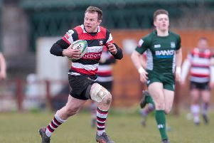 Christ Fusaro scores Stirling County's fifth try against Hawick. Picture: SNS.