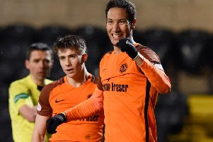 Dundee United's Bilel Mohsni celebrates his goal. Picture: SNS