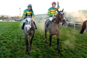 Ridden by Donagh Meyler, Anibale Fly, right, won the Paddy Power Chase at Leopardstown in December. Picture: PA.