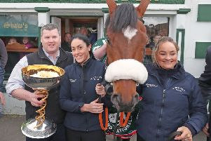 Gordon Elliot and National winner Tiger Roll outside Shaw's Pub in Summerhill, County Meath. Picture: PA