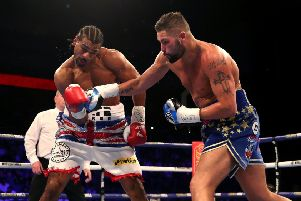 Tony Bellew (right) sent David Hayes to the canvas three times during their fight at the O2 Arena. Picture: PA