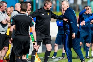 Cowdenbeath manager Gary Bollan and Cove Rangers manager John Sheran, right, clash before they're both sent off. Picture: Ross Parker/SNS