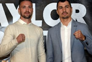 Undefeated Edinburgh fighter Josh Taylor, left, came face to face with Viktor Postol for the first time in Glasgow earlier this week. Picture: Jen Charlton