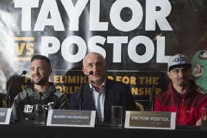 Josh Taylor, left, with promoter Barry McGuigan and Viktor Postol. Picture: Craig Foy/SNS