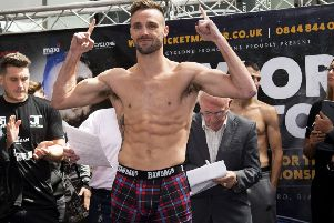 Josh Taylor at the weigh-in  for his fight against Viktor Postol. Picture: Craig Foy/SNS