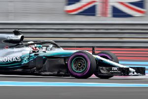 Lewis Hamilton on his way to claiming pole position during yesterday's qualifying session at Circuit Paul Ricard.  Photograph: Gerard Julien/AFP/Getty