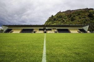 A general view of Dumbarton's stadium, with the Rock in the background. Picture: SNS Group