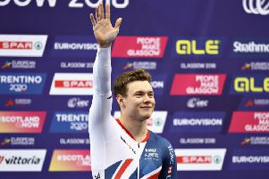 Jack Carlin celebrates winning bronze in the men's keirin. Picture: Getty
