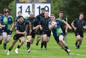 Boroughmuir hooker Johnny Matthews makes a break at Malleny Park. 'Picture Ian Rutherford