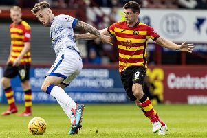 Kris Doolan (right) scored but the officials missed it. Picture: SNS Group