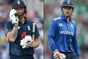 England all rounder Ben Stokes, left, and opening batsman Alex Hales will face and independent Cricket Discipline Commission. Pictures: AP