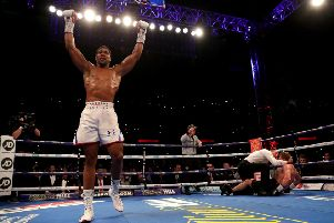 Anthony Joshua celebrates retaining his titles at Wembley. Picture: Getty.