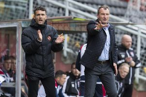 Dundee United manager Csaba Laszlo (R) with coach Laurie Ellis. Pic: SNS/Kenny Smith