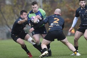 Boroughmuir's Gavin Parker' tries to find a way through against Currie. Picture: Greg Macvean