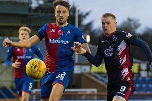 Inverness' Brad McKay (left) battles with Ross County's Billy Mckay. Picture: SNS