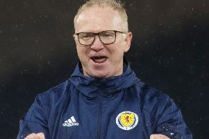 Scotland manager Alex McLeish celebrates at full time. Picture: Alan Harvey/SNS