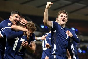 Scotland's James Forrest celebrates the third goal of his hat-trick against Israel. Picture: Jane Barlow/PA Wire
