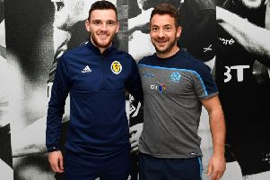 National football and rugby captains Andy Robertson and Greig Laidlaw got together at Oriam.  Picture: Paul Devlin/SNS/SRU