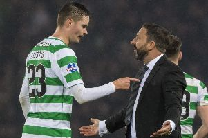 Aberdeen manager Derek McInnes speaks with Celtic's Mikael Lustig after full-time. Picture: SNS