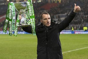 Celtic manager Brendan Rodgers celebrates after winning the Betfred Cup. Picture: SNS