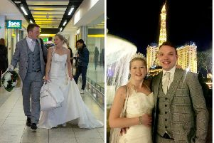 Sarah Elliott, 34, and Paul Edwards, 36, who met on a dating app on 15th December - meet in person for the first time as they fly off to Las Vegas from Gatwick to get married. Picture: SWNS