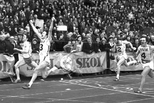 Symington's Roy Heron breasts the tape to win the Skol New Year Sprint at Meadowbank in January 1978