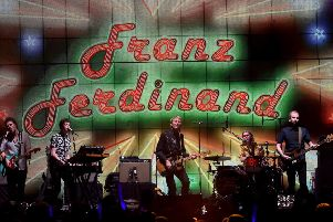 Dino Bardot, Julian Corrie, Alex Kapranos, Paul Thomson, and Bob Hardy of Franz Ferdinand perform onstage at The Forum in Inglewood, California.  PIcture: Kevin Winter/Getty Images for KROQ