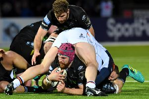 Glasgow Warriors' Tim Swinson in the thick of the action against Edinburgh at Scotstoun. Picture: Gary Hutchison/SNS/SRU