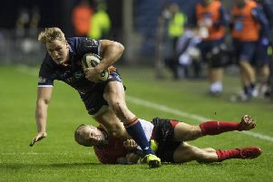 Duhan Van Der Merwe surges forward during Edinburgh's thumping win over Southern Kings on Saturday night. Picture: SNS/SRU