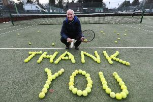 Brian Melville, 68, was Andy Murray's first coach, from when the dual Wimbledon champion was aged seven. He is pictured here at Dunblane Sports Club.' Picture: John Devlin