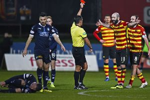 Partick Thistle's Gary Harkins protests his innocence after receiving a red card from referee Andrew Dallas. Picture: Rob Casey/SNS